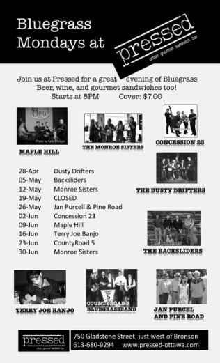 poster of bluegrass at Pressed. Maple Hill is there April 29 and June 3